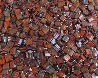 5x5x1.9mm Opaque Orange Picasso Miyuki Tila Double Hole Glass Beads 7 Grams (DS382)