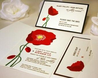 Red Poppy Wedding Invitation Suite, Floral Wedding Invitation Set, Orange Flower, California Poppy Invitations
