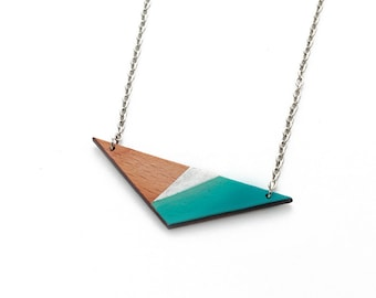 Geometric, triangle wooden necklace - silver, turquoise blue ombre, natural wood - minimalist, modern jewelry - color blocking