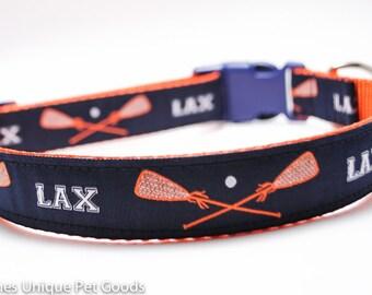 Lacrosse Sticks Dog Collar, Choose Color, Lacrosse, Sports Dog Collar
