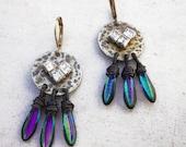 Contemporary hammered metal dangle earrings chevron rhinestone earrings circle drop earrings boho chic earrings modern jewelry
