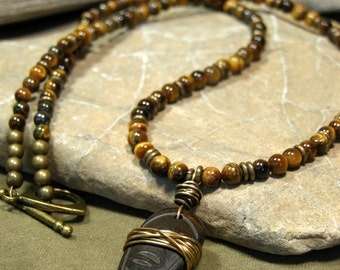 Mens Necklace, Long Beaded Necklace, Tiger Eye Gemstones, Mens Jewelry, Pendant Necklace, Native Tribal Necklace, Mens Jewelry