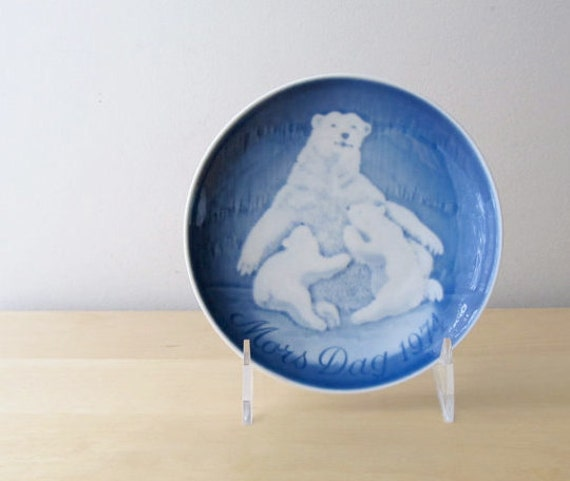 bing and grondahl polar bear and cubs 1974 mothers day plate