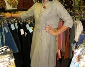 1950s Gray Wool Suit - New Look Style with Pleated Skirt