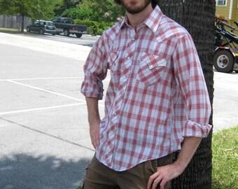 Red Plaid Western Shirt-Cowboy-Large-Extra Large-L-XL