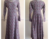90s My So Called Life,  grunge, liberty, calico floral long sleeve ESPRIT maxi dress. Black & white w/ red floral design Size Small