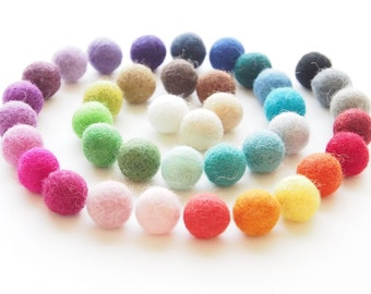 Felt Ball - Felt Bead - Felt Wool Ball 1 inch Bulk - White Felt Ball, Blue, Green, Rainbow, Pink Felt Ball 2cm - 50