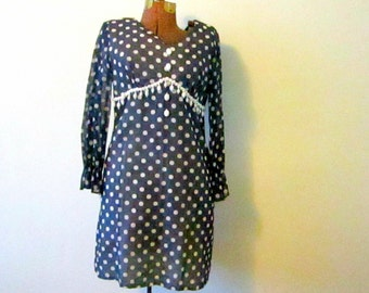 60s Polka Dot Vintage Dress Navy Blue with Beads 1960s Small