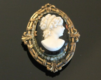 Antique Cameo Locket Black White Glass Seed Pearls Vintage Locket