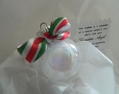 Green and Red Stripe Bow Tiny Remembrance Christmas Tree Ornament