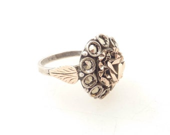 Size 5.75 Antique Sterling and Gold Rosebud Ring with Marcasite Accents