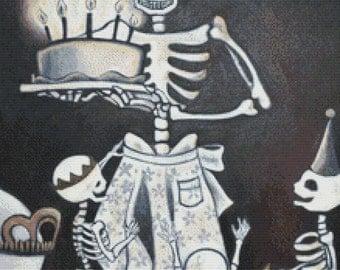 Day of the Dead cross stitch kit - Birthday Skeletons - Eya Claire Floyd - Celebration - Modern art needlecraft - Genuine DMC materials