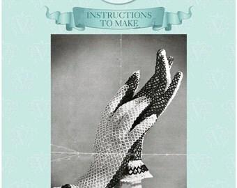 INSTANT DOWNLOAD-Vintage crochet pattern for elegant lace gloves -pdf email delivery