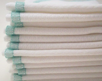 Unpaper Towels - Pack of 12 with a Mint Green Border