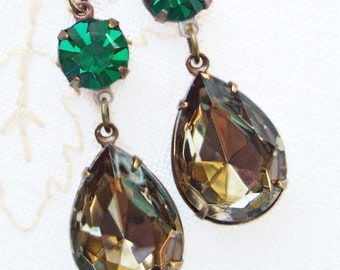Victorian Earrings Emerald Green Jewelry Bridesmaid Gift  ANGELINA Envy