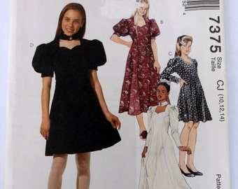 Mccalls 7375 Girls Dress Pattern Size 10,12,14 Fit Flare Dress,Sweetheart Neckline,Princess Seaming