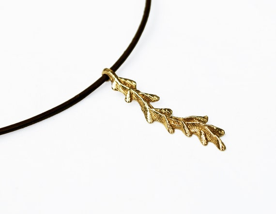 Solid Gold Branch Necklace on Brown Leather Cord