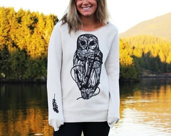 Owl and Anchor Drawing on Ladies Ivory Flashdance Sweatshirt