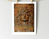 Goddess Art, Architectural Detail Photo, Wood Print, Greek Statue Photography, Carved Wood Wall Decor, Caryatid Print, St. Augustine FL, 5x7