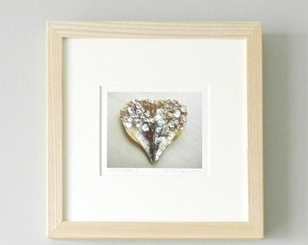 Heart Art Home Decor, Framed Art Heart Print,Romantic Photography,Framed Photography,Seashell Nature Photography,Ash Natural Wood Frame