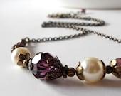 Purple Bridesmaid Necklaces, Vintage Style Ivory and Plum Wedding Jewelry, Amethyst Swarovski Crystallized Elements, Bridesmaid Jewelry Gift