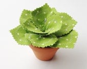 Fabric Leaf Potted Plant - Lime Green Polka Dot Spring Succulent