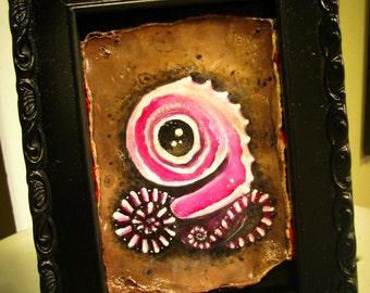 Peppermint Fetus Cute Lowbrow Art Original Mixed Media Painting