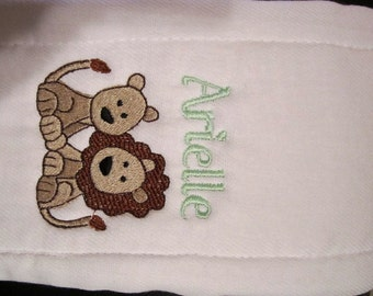 Embroidered Personalized  Burp Cloth- Lions