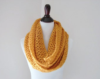 Gold Infinity Scarf, Chunky Cowl, Crochet Scarf, Mustard Infinity Cowl - READY TO SHIP