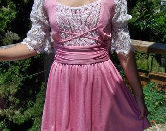 Peasant Dress, Lace up Dress, Pink peasant dress, Renaissance Dress, Lace up mini dress, size xxs / xs