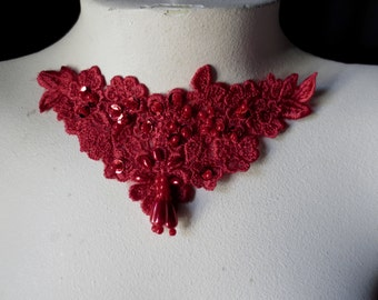 Venise Lace Applique in RED with Beadwork for Altered Couture, Jewelry or Costume Design CA 755red