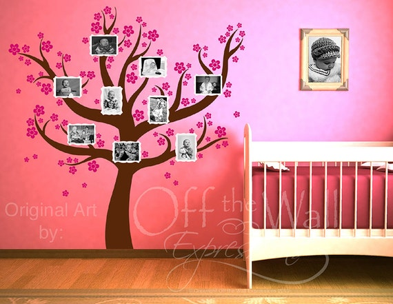 Family Tree decal - vinyl tree with Blossoms - nursery tree decor with photo frames, baby girl removable decals