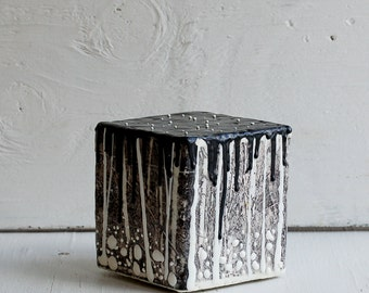 Midnight FOREST Art Block Encaustic Painting Black and White