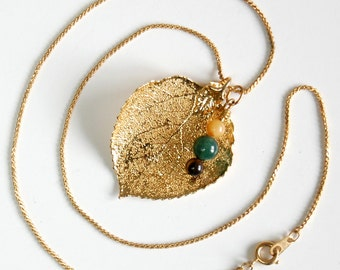 Gold Plated Leaf Necklace -  3 in 1 Necklace, Real Leaf Pendant Necklace, Vintage Gold Plated Leaf, 24kt Electroplated Leaf