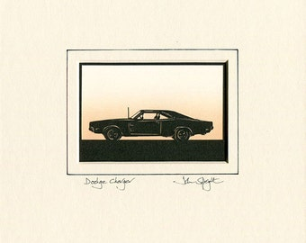Dodge Charger (1969) Hand Cut Papercut (Side View)