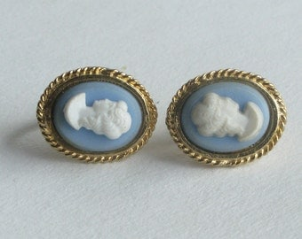 Small Blue Cameo Clip Earrings