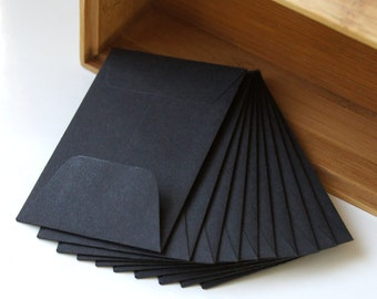 10 Open End Baby Envelopes in Black .  2.25 x 3.5