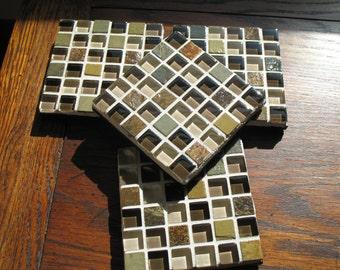 SALE - Brown Tumbled Stone Coasters (Set of 4)