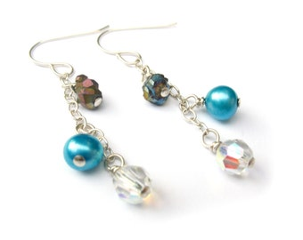 Teal Blue Pearl, Chalcopyrite, and Crystal Sterling Silver Earrings