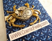 Men's Steampunk Tie Clip Brass Crab Tie Clip Vintage Watch Movement Nautical Tie Bar Gothic Victorian Men's Tie Clip Men's Gifts Tropical