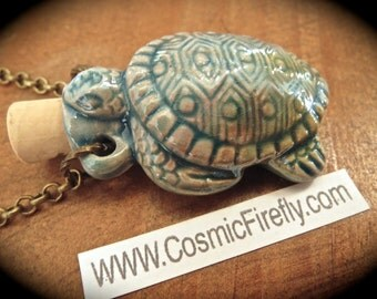 Turtle Necklace Rustic Glazed Blue Ceramic Bottle Necklace Antiqued Brass Rolo Chain Nautical Steampunk Necklace Blue Turtle Pendant New