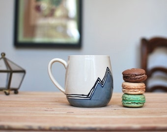 Wheel Thrown Coffee / Tea Mug in Grey Mountains