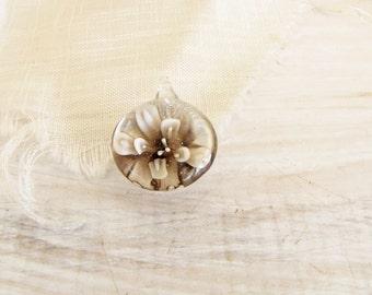 Brown Lampwork Pendant Glass Flower Bead Pendant Jewelry Supply Brown Cream Flower Jewelry