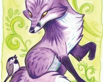Purple Fox 8.5 x 11 print in 11 x 14 mat