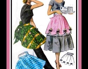 Vintage 1956-HOSTESS PARTY APRONS-Sewing Pattern Three Styles-Scalloped Hem-Eyelet Under Ruffling-Festive Ribbon & Bells Style-One Size-Rare