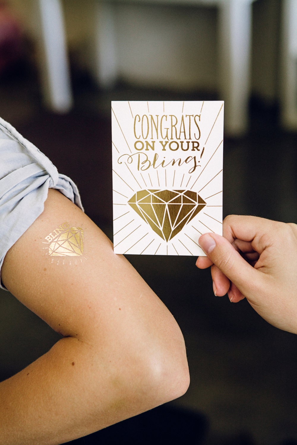congrats on your bling gold foil tattoo and card by