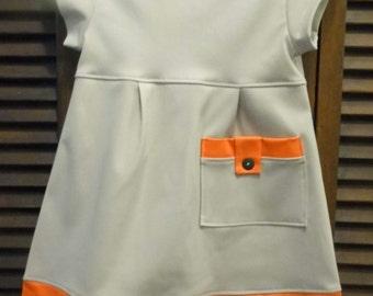 Beige with orange trim A-line dress
