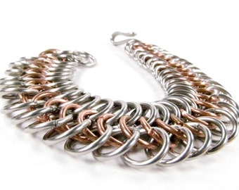 Roman Six in One - Chainmaille Bracelet - Copper & Stainless Steel Cuff