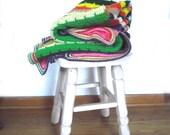 80s Afghan / Vintage Crochet Blanket Multi Color Knit Throw