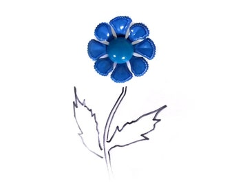 60s Enamel Pin Brooch / Blue Flower Brooch / Spring Color